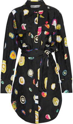 Diane von Furstenberg Peyton Belted Satin-jacquard Mini Shirt Dress