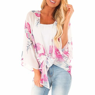 Lazzboy Women Cover-up Smock Chiffon Floral Flower/Leaves Print Beach Flowy Open Front Ladies Swimwear Shrug Kimono(2XL(16)