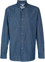 Brioni checked detail shirt