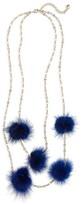 BaubleBar Women's Loulou Genuine Marten Fur Pompom Layered Necklace