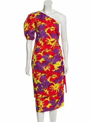 Rosie Assoulin One-Shoulder Floral Print Dress w/ Tags Yellow