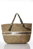 Beirn Beige Straw Watersnake Detail Drawstring Closure Tote NWT $350