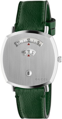 Gucci Grip Leather Strap Watch, 38mm