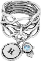 Or Paz Sterling Personalized Initial Gemstone Hamsa Ring