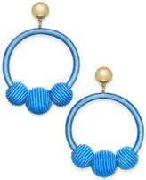 Kate Spade Gold-Tone Wrapped & Beaded Hoop Earrings