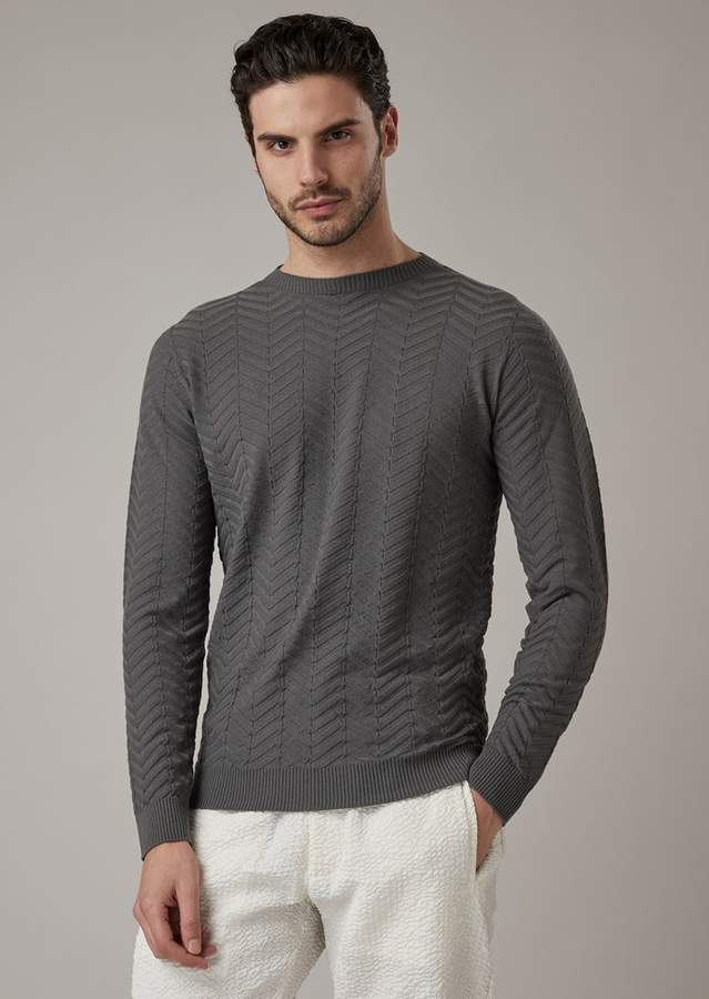 d348edfc4a Jacquard Virgin Wool Sweater With Chevron Motif