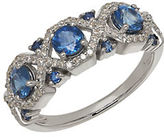 Lord & Taylor Variegated Sapphire, Diamond and 14K White Gold Ring