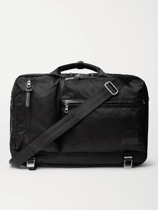 MASTERPIECE Lightning Leather-Trimmed Nylon-Twill Briefcase - Men - Black