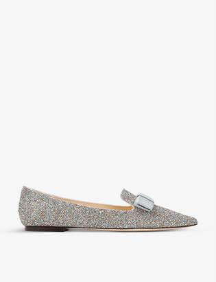 Jimmy Choo Gala Joy pointed-toe glitter flats