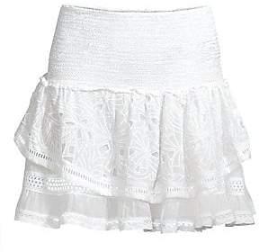 Ramy Brook Women's Arius Crochet Tiered Silk-Blend Skirt