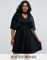 Club L Plus Skater Dress With Choker Detail And Cape Back
