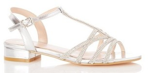 Dorothy Perkins Womens *Quiz Silver Diamonte Heeled Sandals, Silver
