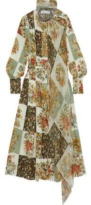 Oscar de la Renta Pleated Floral-print Silk-chiffon Midi Dress