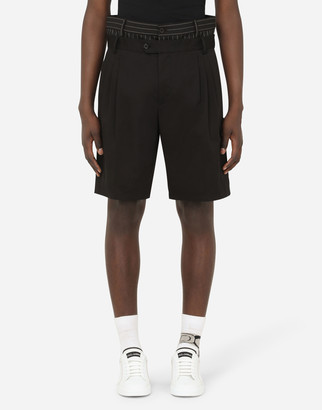 Dolce & Gabbana Stretch Cotton Shorts With Double Belt