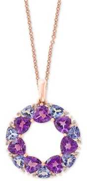 "Effy Multi-Gemstone (4-1/4 ct. t.w.) & Diamond Accent Wreath 18"" Pendant Necklace in 14k Rose Gold"