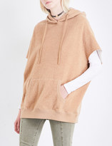 R 13 Short-sleeved cotton and camel-blend hoody