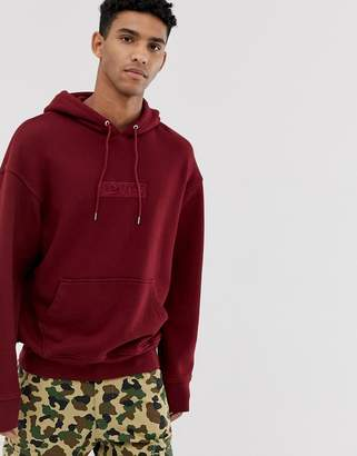 Levi's embroidered tonal babytab logo relaxed fit hoodie in cabernet