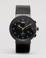 Braun Classic Leather Chronograph Watch In Black