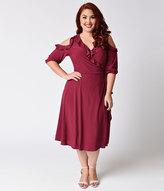 Kiyonna Plus Size Raspberry Red Ruffled Barcelona Wrap Dress