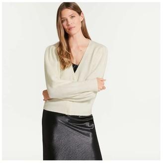 Joe Fresh Women's Puff Sleeve Cardi, Cream (Size XL)