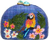 Rafe Ariella Blue Parrot Embroidered Raffia Clutch