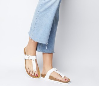 Office Spencer Toe Post Footbed Sandals White With Rose Gold Branding