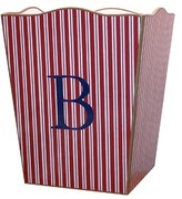 The Well Appointed House Personalized Red Stripe Decoupage Wastebasket and Optional Tissue Box