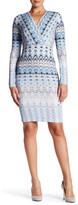 Hale Bob Wrap Bodice Sheath Dress