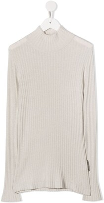 BRUNELLO CUCINELLI KIDS Ribbed Mock Neck Top