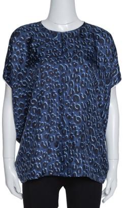 Louis Vuitton Dark Blue Leopard Print Silk Contrast Trim Blouse L