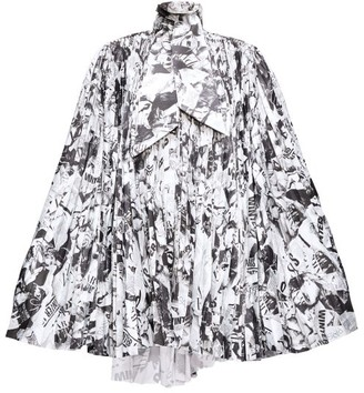 Balenciaga Magazine-print Pleated-satin Cape Dress - Womens - Black White