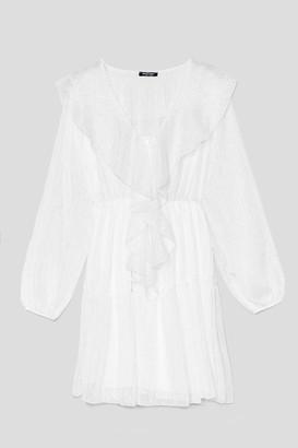 Nasty Gal Womens Some Day Balloon Sleeve Mini Dress - White - 6, White