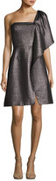 Halston One-Shoulder Fit-and-Flare Shimmer Knit Cocktail Dress