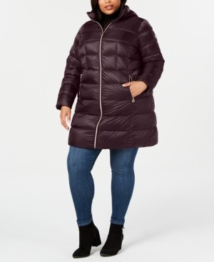 Michael Kors Michael Plus Size Hooded Packable Down Puffer Coat, Created for Macy's