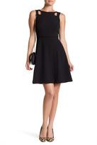 Tahari Crepe A-Line Cutout Dress