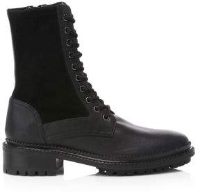 Aquatalia Orianna Leather & Suede Combat Boots