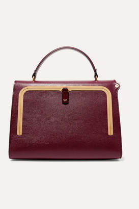 Anya Hindmarch Postbox Textured-leather Tote - Burgundy