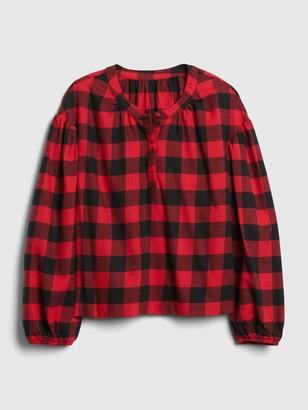 Gap Kids Plaid Puff Sleeve Henley Shirt