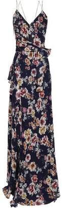 Nicholas Wrap-effect Floral-print Silk-georgette Maxi Dress