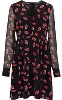 Markus Lupfer Gauze-Paneled Printed Silk Crepe De Chine Dress