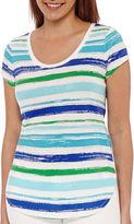 Liz Claiborne Short-Sleeve Striped Tee