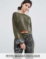 Starry Eyed Petite Dipped Sweatshirt With Beaded Cuff Detail