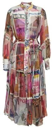 Zimmermann High collar silk midi dress