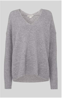 Whistles V Neck Rib Wool Sweater