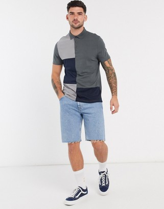 ASOS DESIGN organic t-shirt with patchwork colour block in grey