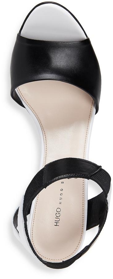 HUGO BOSS 'Lizette' | Two-Tone Italian Leather Sandal by HUGO