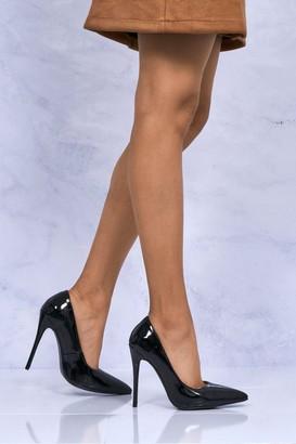 Miss Diva Mila High Stiletto Heel Court Shoe In Black Patent