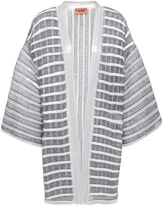 Missoni Sequin-embellished Metallic Striped Crochet-knit Cardigan