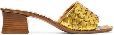 Bottega Veneta Ravello Metallic Intrecciato Leather Mules - Gold