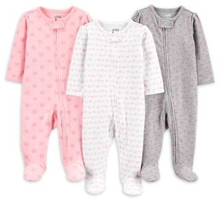 Child of Mine by Carter's Baby Girls Interlock Cotton Sleep 'N Play Pajamas, 3-Pack (Preemie-9M)